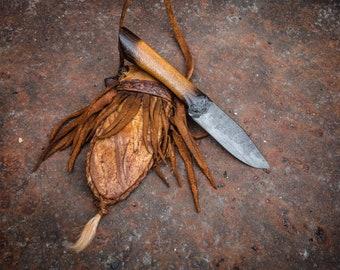 Handmade Mountain man knife, Neck carry deer hide sheath, Hand forged, Individually made in Oklahoma, USA