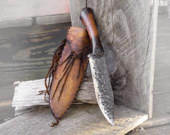 Large Custom hand forged mountain man knife, Deer hide sheath, Made in the USA