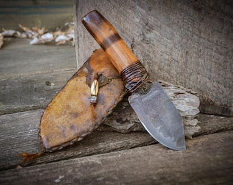Beautiful Handcrafted Prairiewind Mountain man knife, Custom Forged knife, Made in the USA