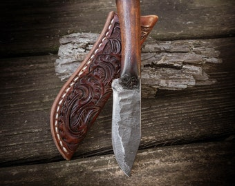 Prairiewind Hand Forged custom knife, Hand tooled leather, Made in Oklahoma