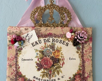 French Inspired wall hanging | French Plaque | Floral decor | French Perfume decor