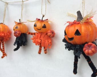 3 FOR 15!!! | Vintage Halloween Ornament | Halloween Figures |  Halloween Decoration | Jack o lantern | Rustic Halloween | Pumpkin Garland