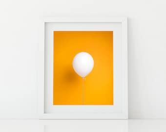 White Balloon on Orange, kids print, nursery decor, kids wall art, kids wall art, happy nursery art, playroom art, photo print, pop art