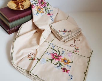 Vintage Embroidered Tablecloth, Cross Stitch and Applique Roses, Ecru Tablecloth with Matching Napkins