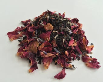 PREMIUM Organic BLACK Tea with Rose Petals & Lavender Buds - FRESH, All Natural Ingredients, Premium Tea 2oz.
