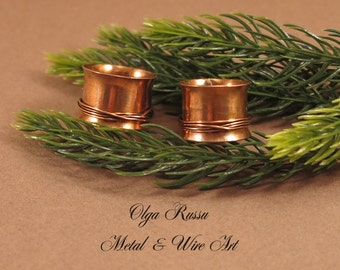 """Pair rings - Copper (metal) pair rings """"He and She"""", gift for her, gift for him, gift for pair, handmade rings for pair, personalized ring"""