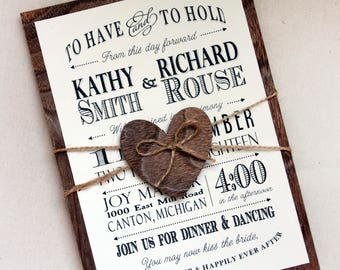 Rustic Wedding invitation with real wood backing, woodland wedding invitation, barn wedding invitation set, typography wedding invitations