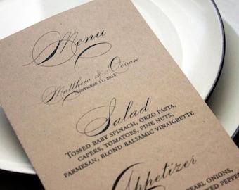 Wedding Menu, rustic wedding Menu, Wedding Stationary, Place Settings, Barn Wedding Place Settings, Formal menu, country wedding menu cards