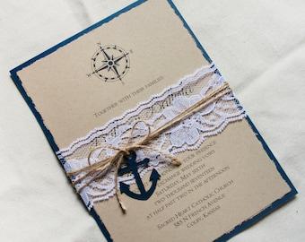 Nautical Wedding Invitation set, navy wedding invite, Anchor wedding invitation, rustic wedding invitation, Anchor wedding stationary sample