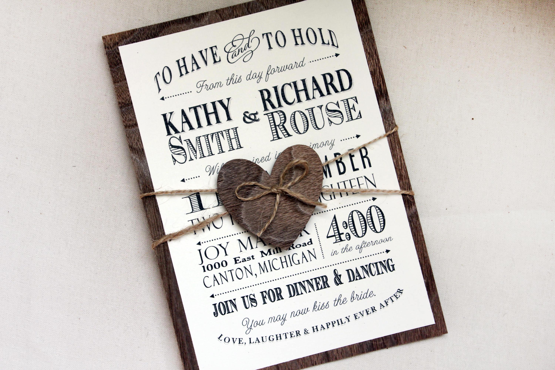 Real Wood Wedding Invitations: Rustic Wedding Invitation With Real Wood Backing Woodland