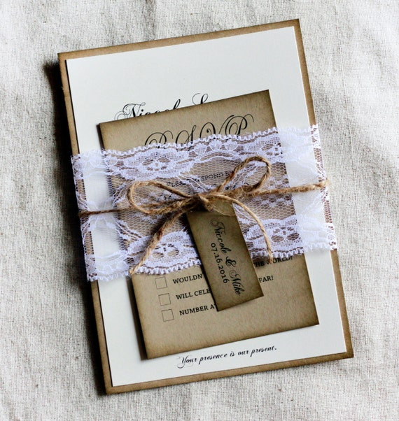 Country Lace Wedding Invitations Rustic Invitation Set With Barn Chic Sample