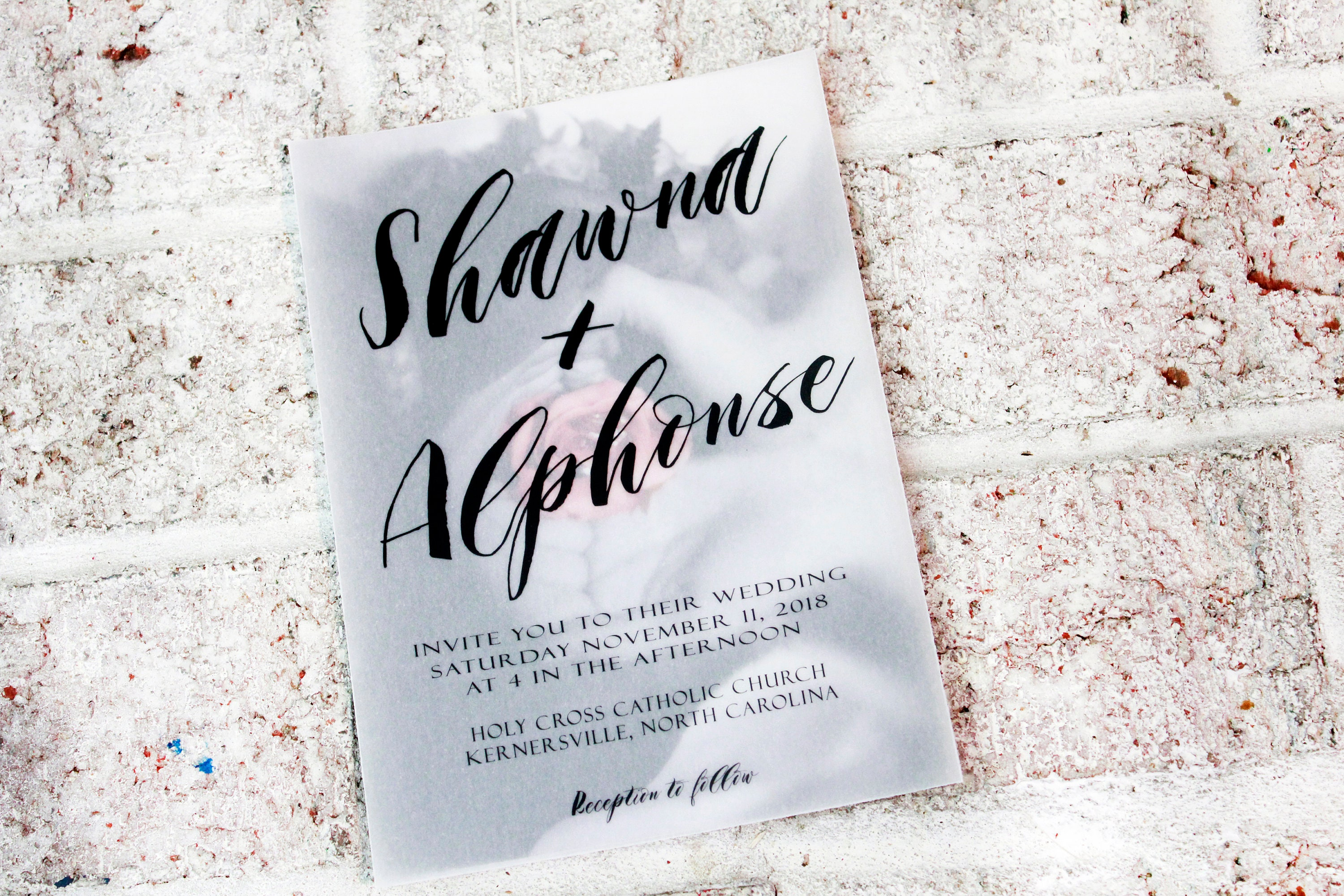 Vellum Overlay Wedding Invitation See Through Photo Invitations DIY Kit Translucent Text