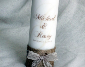 Rustic Unity Candles, Custom Unity Candles, Memorial Candles, Personalized Unity Candles, Unity Candles with Names, Rustic Unity Candles