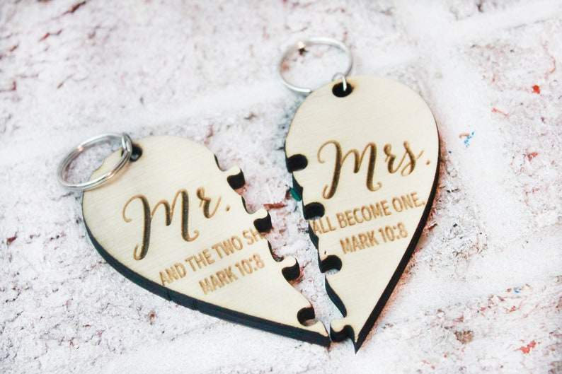 Just married key chains luggage tags heart puzzle Mr custom keychains And the two shall become one newlywed gifts luggage tags /& Mrs