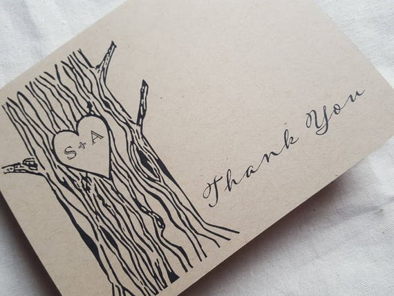 Rustic Thank You Cards Set Of 5 Rustic Wedding Blank Thank Etsy