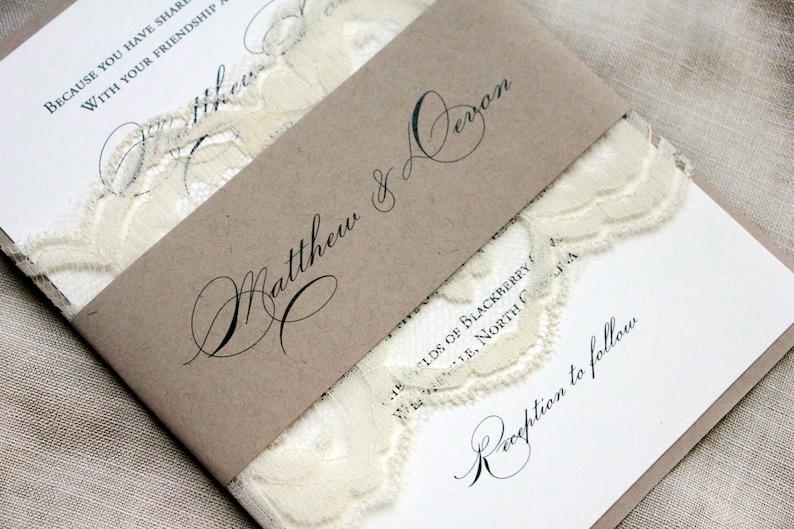Elegant Wedding Invitations Country Lace Wedding Barn image 0