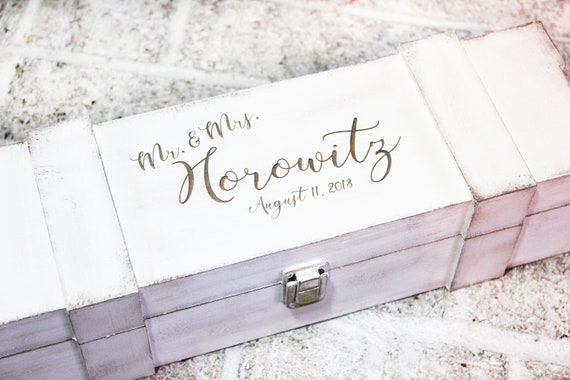 Rustic Wood Wine Box Personalized Wedding Keepsake Etsy