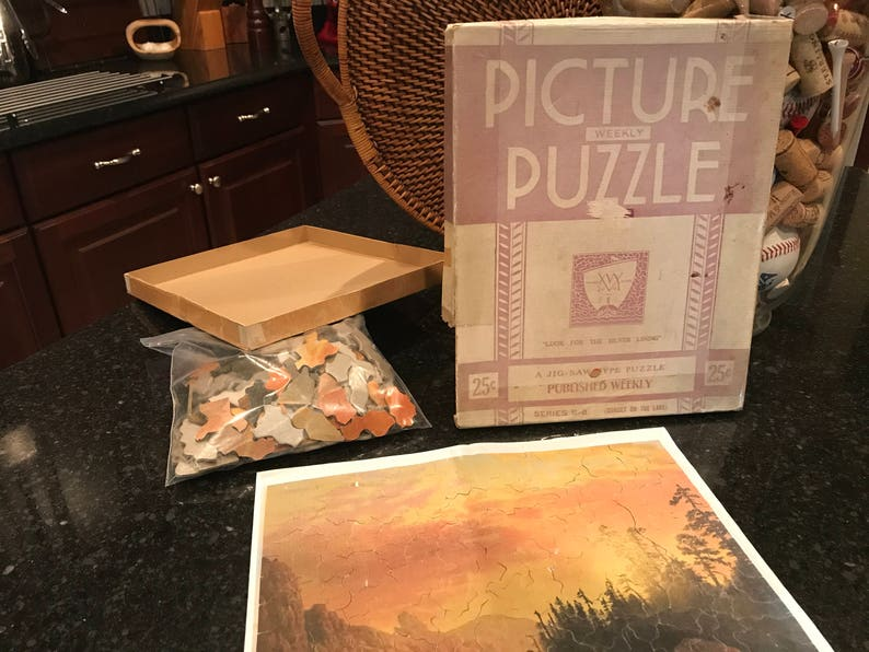 Sunset on the Lake by Viking Vintage Picture Weekly Puzzle Series B-8 Look for the Silver Lining 1930/'s?