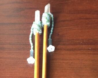 Hair Sticks ~ Seed Bead w Quartz Crystal
