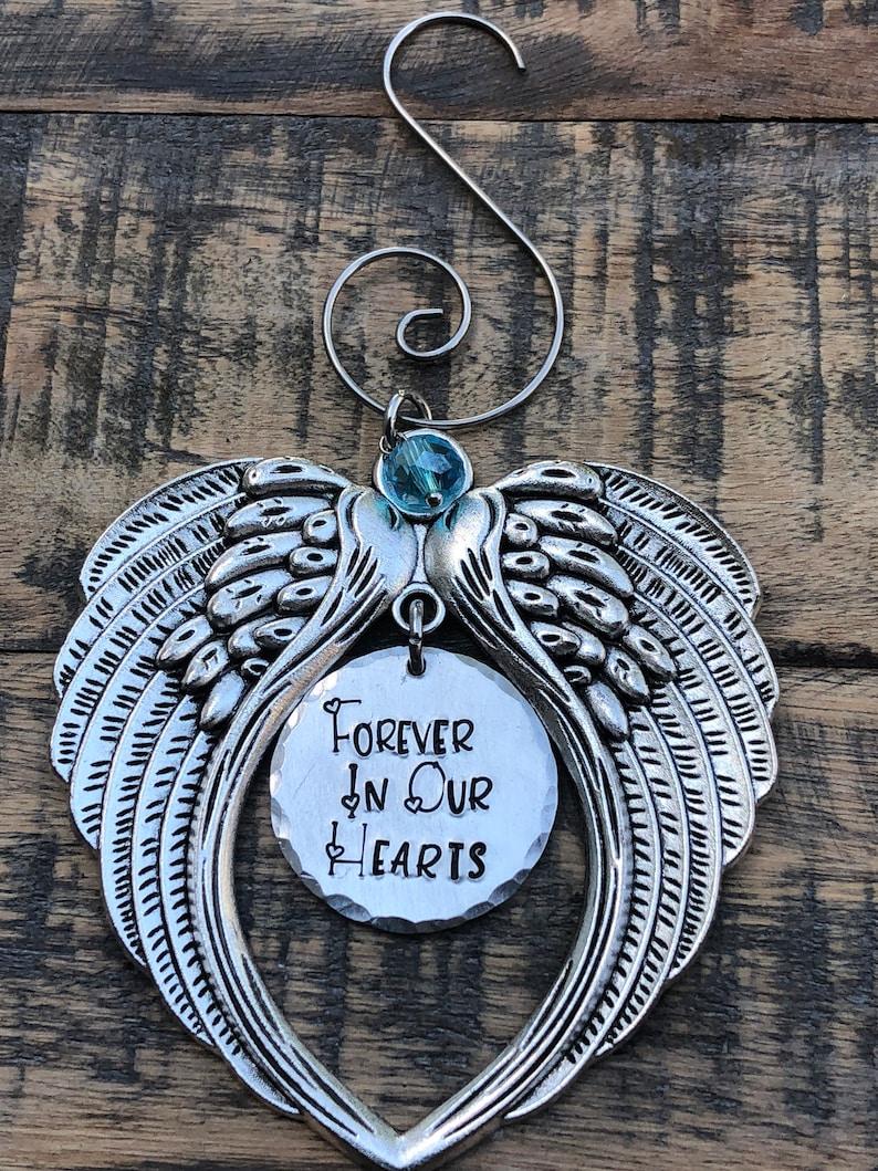 June Birthstone Angel Wings Memorial Ornament