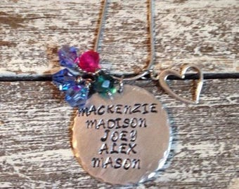Customized Mothers necklace~ Mothers necklace with stamped kids names and birthstones~ Mommy necklace