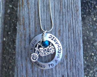 My heart belongs to a mechanic- Expression of love necklace- Hand stamped- Personalized Jewelry