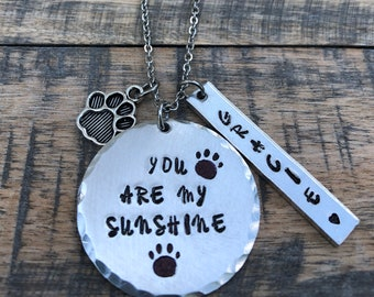 You are my sunshine~ Dog mom necklace~ Pet lover necklace~ Mommy pride necklace~ Animal lover jewelry