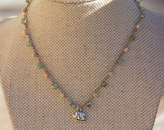 Crochet Necklace, Beaded Necklace, Elephant Necklace