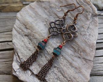 Antique Copper Lantern Earrings, Boho Earrings, Czech Glass Beads Earrings