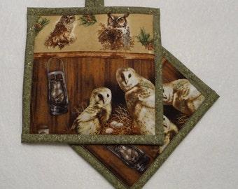 Owl Pot Holder, Owl Hot Pad, Owl Mug Rug, Birthday Gift, Housewarming Gift, Hostess Gift