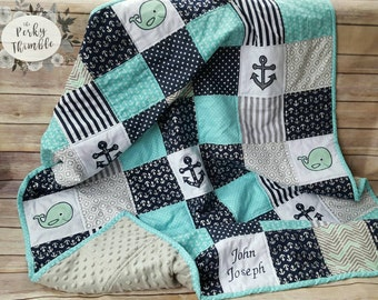 Personalized Baby Quilt, Nautical Crib Bedding, Whale Boy Quilt, Hand made quilts, Blue Baby Blankets, Modern patchwork quilt, Minky Quilts