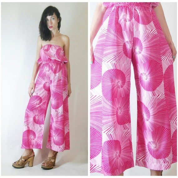 vintage dark pink and white romper jumpsuit
