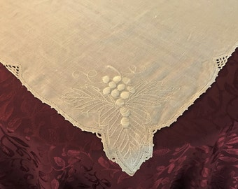 Vintage Luncheon Tablecloth/ Cream Color Linen Embroidery And Crochet Table  Topper/, Vintage Linen Small Tablecloth/ Tablecloths