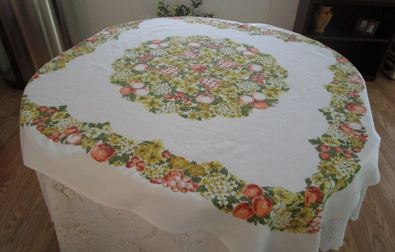 Vintage Tablecloth Fruit And Flower Retro Tablecloth Tablecloths Vintage Cotton Tablecloth Vintage Table Linens Tablecloths