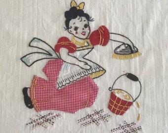 Kitchen Towel/ Vintage Appliqued And Embroidered Towel/ Tea Towel/ Vintage Kitchen/ Retro Kitchen Towel/ Retro Kitchen