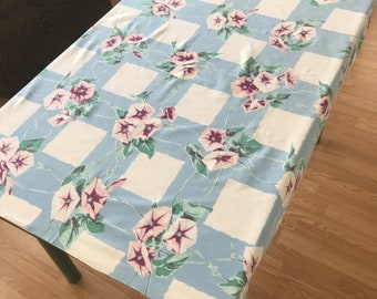 Retro Tablelcoth/ Vintage Flowered Print Cotton Tablecloth/ Small Tablecloth/ Retro Kitchen Tablecloth/ Morning Glory Print Tablecloth