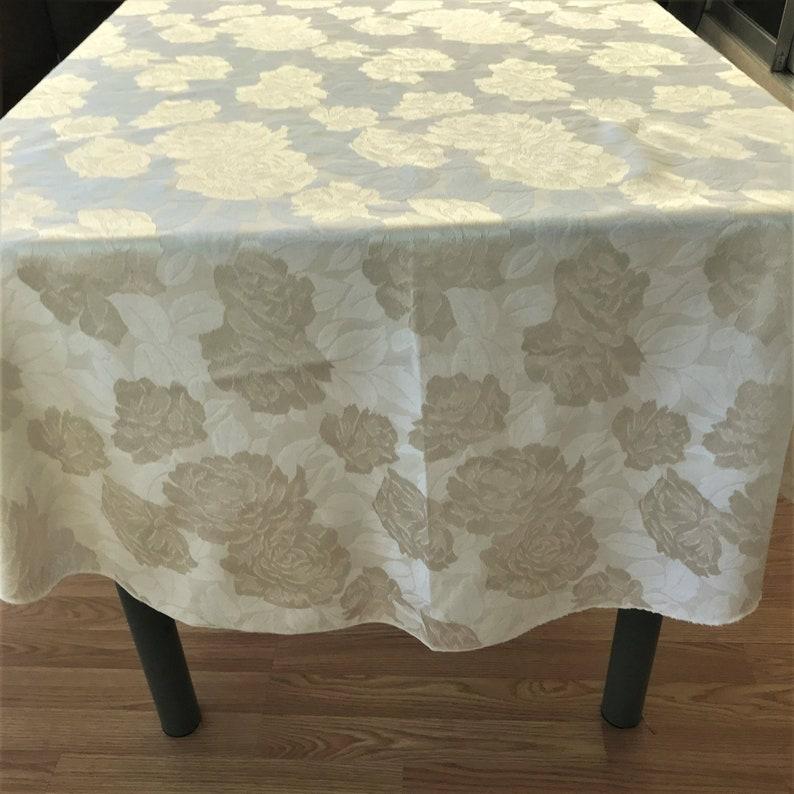 image 0 ... & Rose Pattern Damask Tablecloth Vintage Damask Oval Tablecloth | Etsy