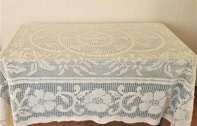Vintage Crocheted Tablecloth Light Cream Color Vintage Crocheted Table  Linens Crocheted Linens Vintage Tablecloths