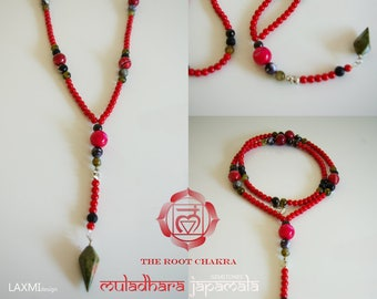 Red japa mala for the first chakra, grounding, strong will and stability- Gemstones - Chakra Jewelry - Yoga, Meditation, Mantra