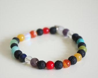 Chakra healing bracelet with mixed gemstones, black lava and mystic aura quartz, Yoga Jewelry, Chakra Jewelry, Healing Jewelry