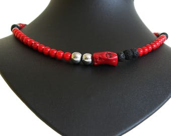 Red, Black and Silver Necklace - Healing Jewelry - Gemstones - First Chakra for grounding,strong will and stability