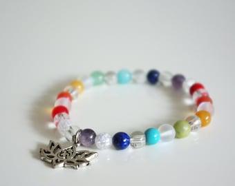 Chakra healing bracelet with mixed gemstones, Yoga Jewelry, Chakra Jewelry, Healing Jewelry, Spiritual Jewelry