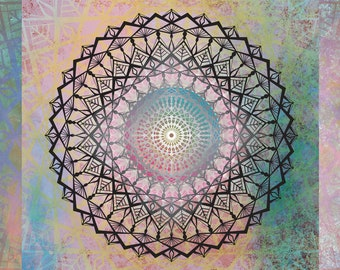 "Mandala of Love ""Anahata"", Sacred Geometry, Mandala Art, Yoga Art"