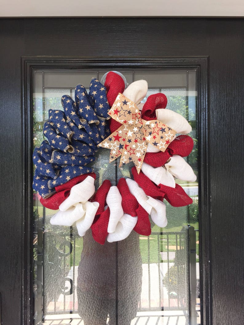 Everyday Wreath red white and blue burlap patriotic wreath American Flag wreath Burlap Wreath