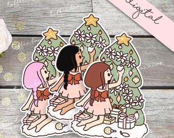Christmas Tree Girl DIGITAL DIECUTS