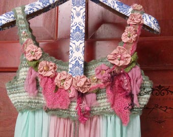 Fairy tunic, recycled and modified artistic couture. Shabby Chic