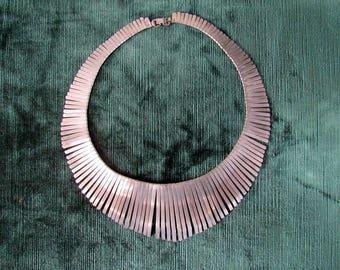 1970s Nickel Silver Bib Statement  Necklace