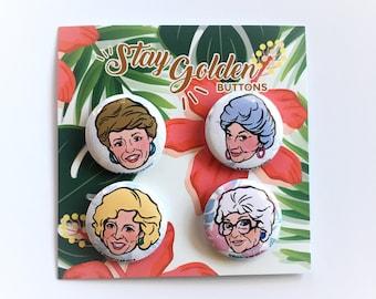 Golden Girls Pins    Set of 4    Rose    Blanche    Sophia    Dorothy    Betty White    TV Show    Sitcome    80s    Nostalgia