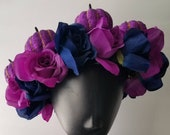 Purple Blue Rose Halloween Flower Crown