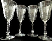 Libbey Rock Sharpe Halifax stem 3005 Set of 4 Water Goblets by Rock Sharpe